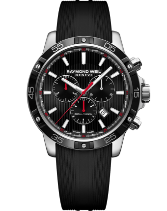 RAYMOND WEIL tango men's black quartz chronograph rubber strap watch