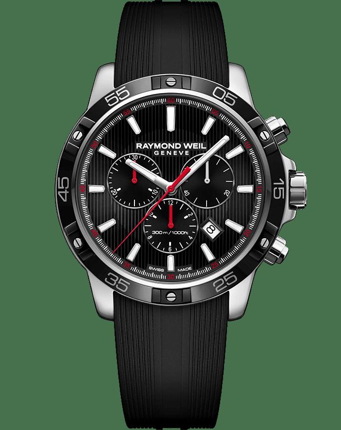 ساعة تانجو بسوار من المطاط كرونوجراف بحركة الكوارتز بلون أسود للرجال من ريموند ويل