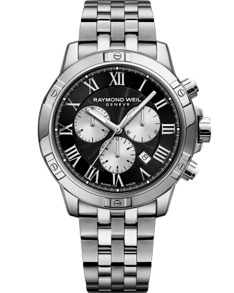 RAYMOND WEIL tango men's black silver steel quartz chronograph bracelet watch