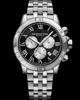 ساعة تانجو بسوار مزودة بكرونوجراف بحركة الكوارتز معدنية باللونين الفضي والأسود للرجال من ريموند ويل