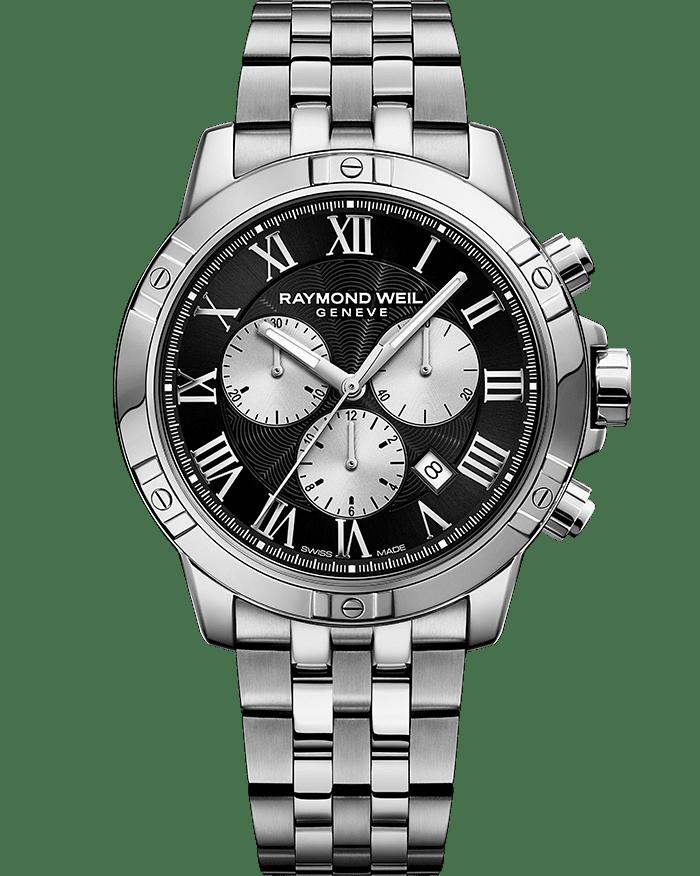 RAYMOND WEIL tango men's black silver steel quartz chronograph bracelet watch