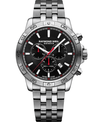 RAYMOND WEIL tango black red steel quartz chronograph watch
