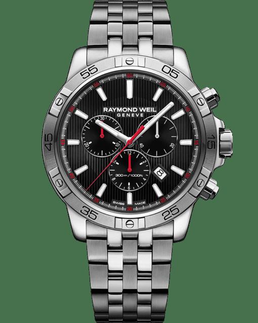 RAYMOND WEIL tango black red steel quartz chronograph watch