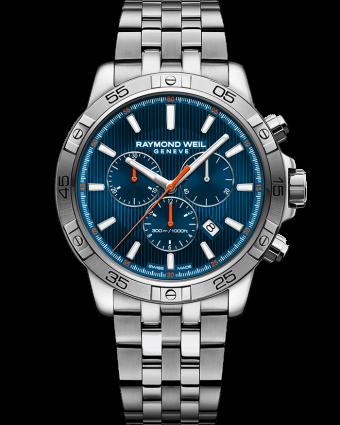 chronographe à quartz bleu en acier tango RAYMOND WEIL
