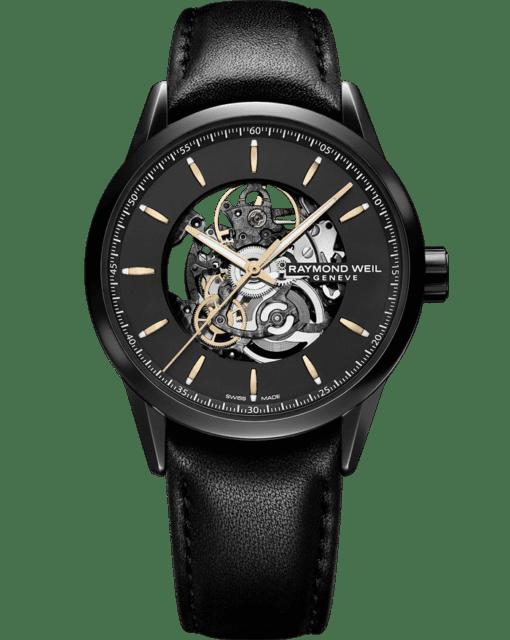 自由骑士系列 - 黑色自动镂空皮革表带腕表 - RAYMOND WEIL