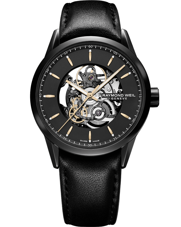 Freelancer - Black Automatic Skeleton Leather Watch - RAYMOND WEIL