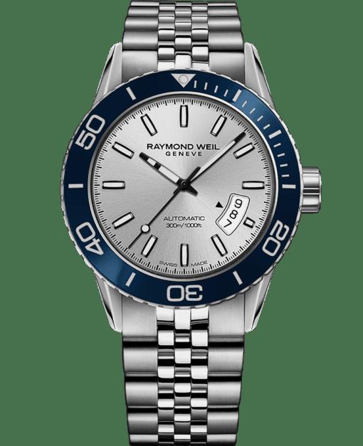 RAYMOND WEIL 自由骑士系列蓝色不锈钢潜水表链腕表