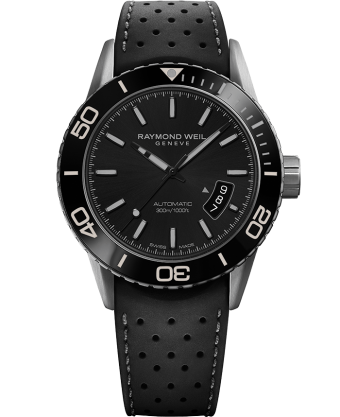 RAYMOND WEIL freelancer grey and black rubber strap diver watch