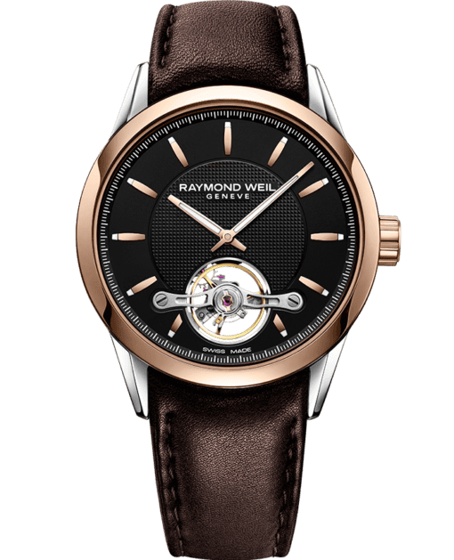 RAYMOND WEIL freelancer Calibre RW1212 automatic rose gold brown leather watch