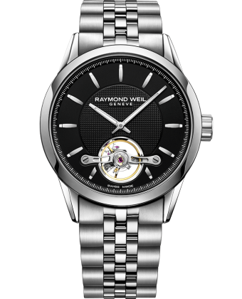RAYMOND WEIL freelancer Calibre RW1212 black steel bracelet watch 42mm