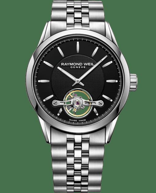 montre bracelet en acier noir freelancer Calibre RW1212 42mm RAYMOND WEIL