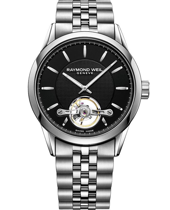 RAYMOND WEIL freelancer Calibre RW1212 black steel bracelet watch 42mm
