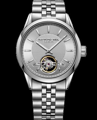 ساعة فريلانسر Calibre RW1212 أتوماتيكية معدنية بلون فضي بفتحة دائرية مكشوفة من ريموند ويل