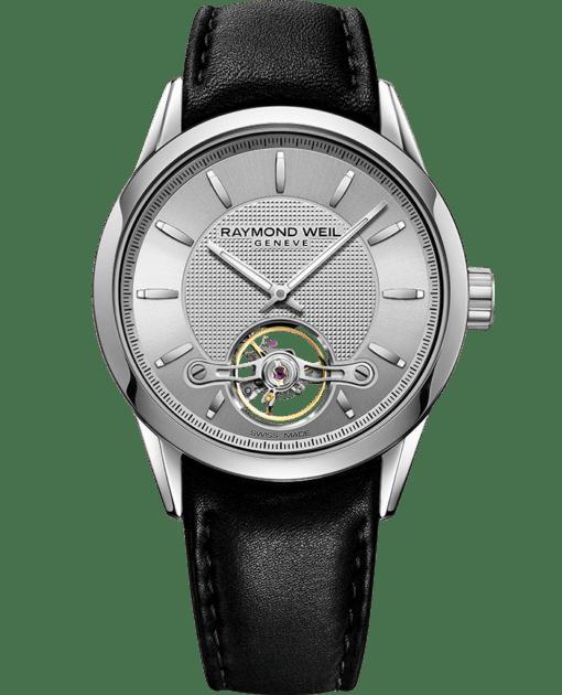 ساعة فريلانسر Calibre RW1212 معدنية جلد أسود بفتحة دائرية مكشوفة من ريموند ويل