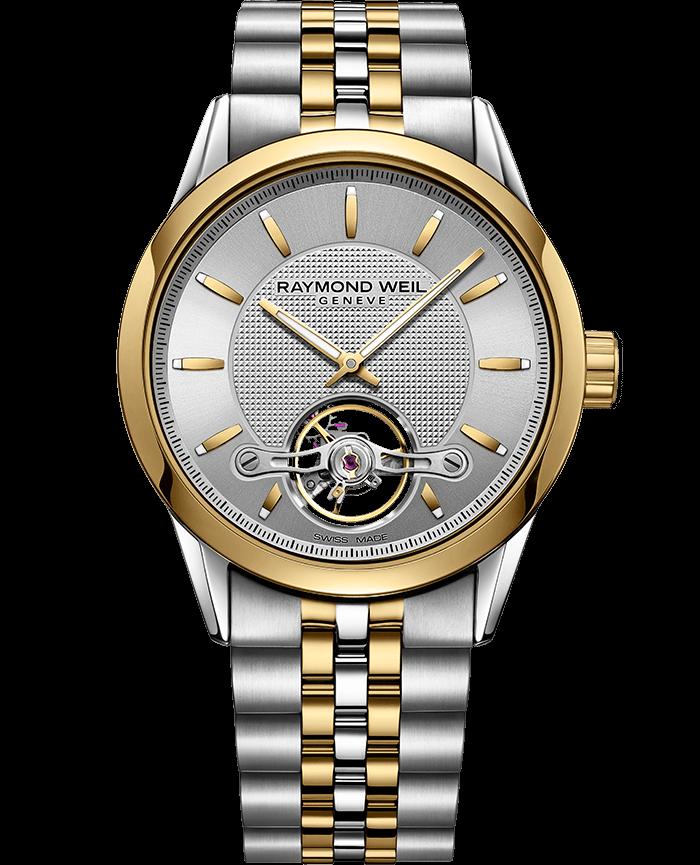 ساعة أتوماتيكية فريلانسر Calibre RW1212 بدرجتي لون من الفضة والذهب من ريموند ويل