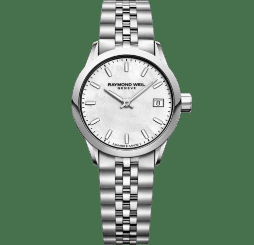 ساعة فريلانسر الكوارتز الفضية نسائية من ريموند ويل مزودة بنافذة عرض اليوم، 26 ملم