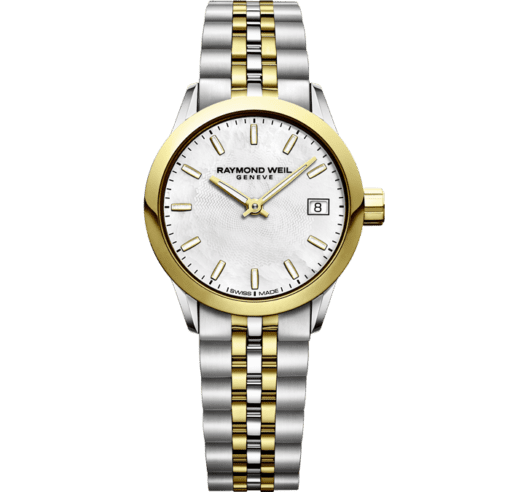 RAYMOND WEIL freelancer ladies 5634-stp-97021 two-tone gold quartz watch mother-of-pearl dial