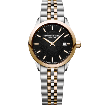 RAYMOND WEIL two-tone rose gold lady freelancer quartz black date watch