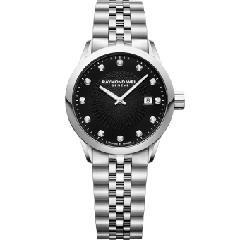 RAYMOND WEIL Freelancer ladies 12 diamond black Swiss quartz watch