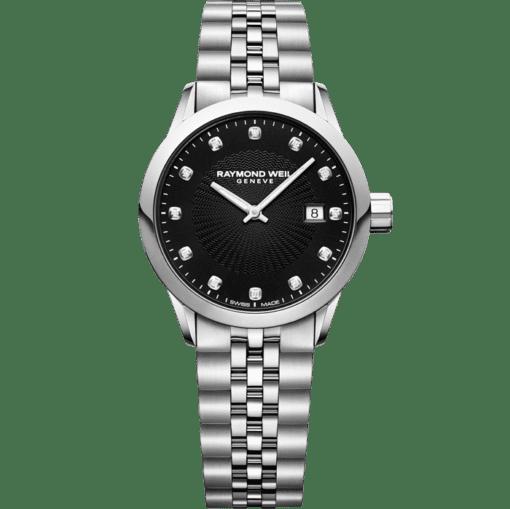 ساعة فريلانسر من ريموند ويل نسائية؛ ساعة بحركة كوارتز سويسرية سوداء مرصعة بـ 12 ماسة.