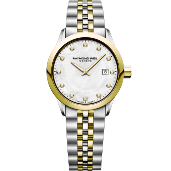 montre à quartz bicolore or et 12 diamants freelancer pour femme RAYMOND WEIL