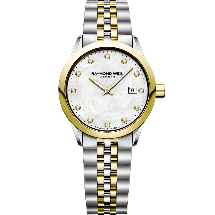 RAYMOND WEIL freelancer ladies 12 diamond two-tone gold quartz watch