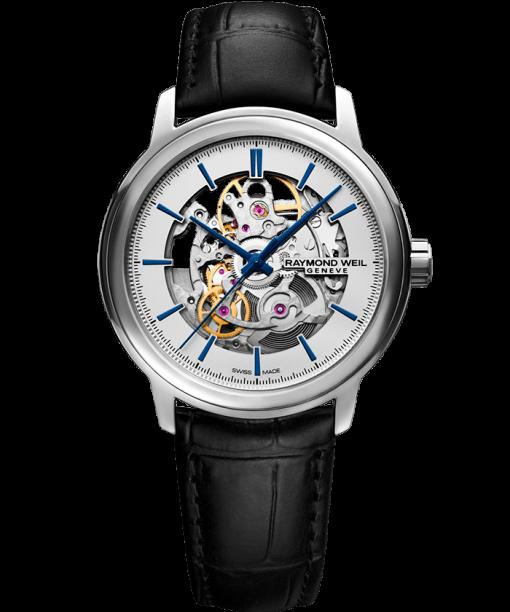 RAYMOND WEIL maestro Skeleton men's automatic black leather watch
