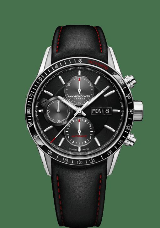 RAYMOND WEIL freelancer men's black leather chronograph watch