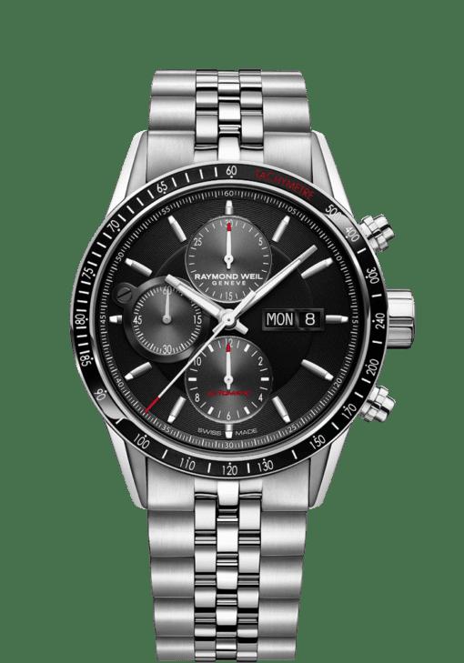 7731 Black Automatic Chronograph Watch - Freelancer | RAYMOND WEIL