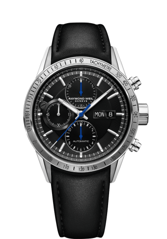 7731 Chronograph Black Leather Watch - Freelancer | RAYMOND WEIL