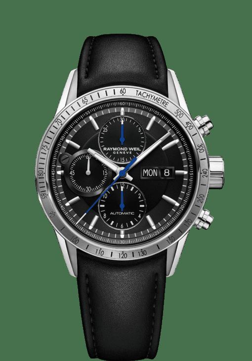 7731 Chronograph Black Leather Watch - Freelancer | RAYMOND WEIL