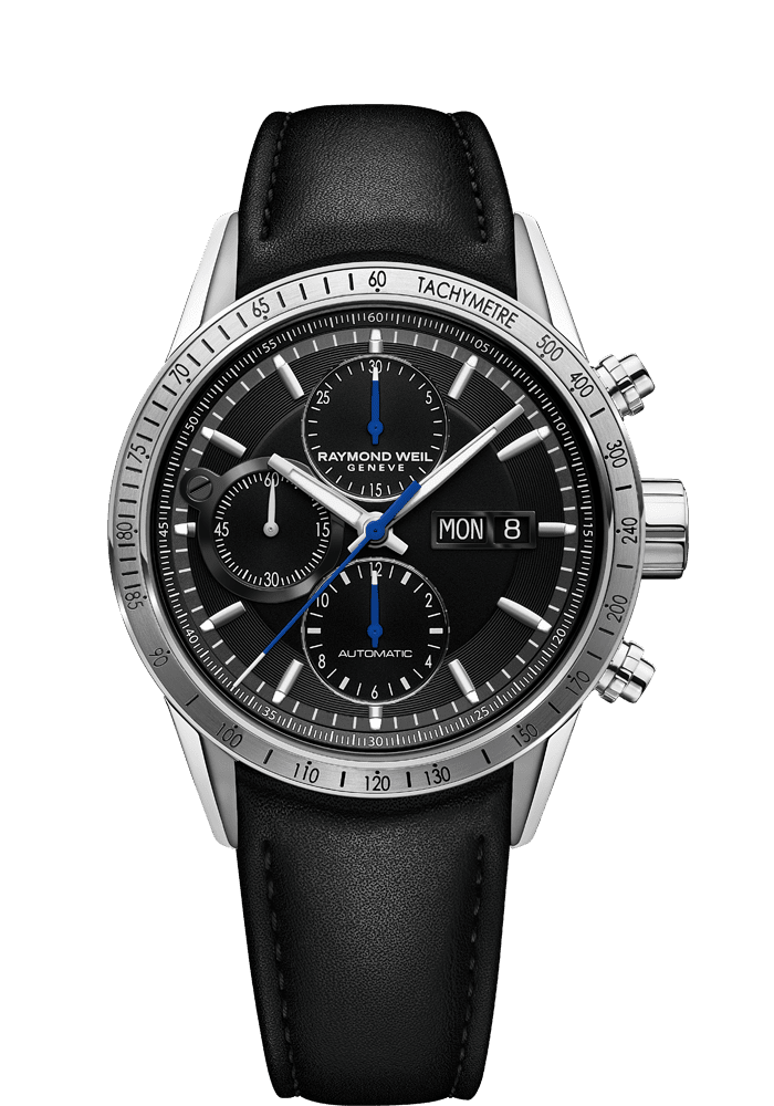 7731 chronograph black leather watch freelancer raymond weil