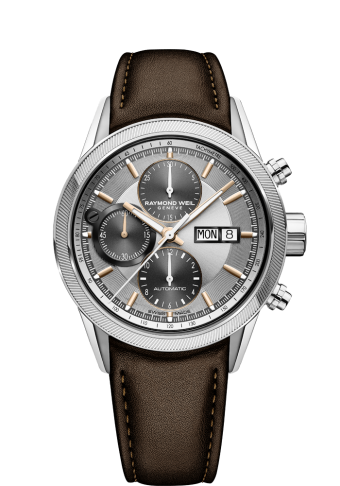 RAYMOND WEIL freelancer men's brown leather chronograph watch