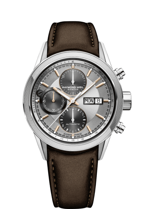 montre chronographe en cuir brun freelancer pour homme RAYMOND WEIL