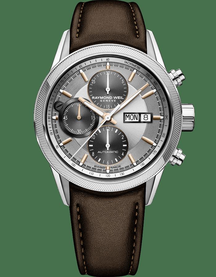 Men S Brown Leather Chronograph Watch Freelancer Raymond