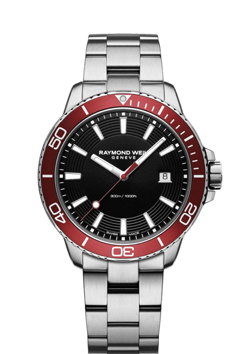 red diver watch quartz chronograph ETA