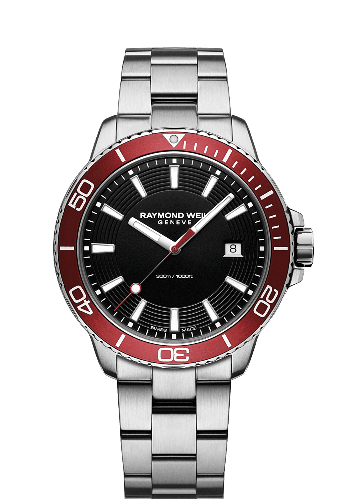red diver watch quartz chronograph ETA