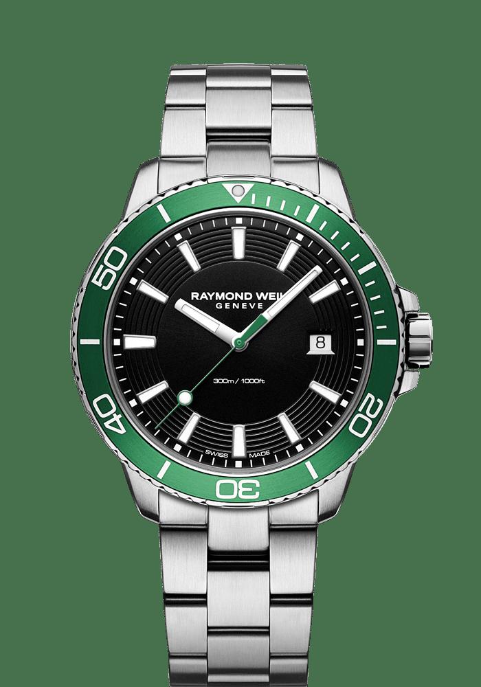 montre chronographe de plongée à quartz verte à mouvement ETA