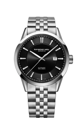 RAYMOND WEIL freelancer black dial stainless steel bracelet watch