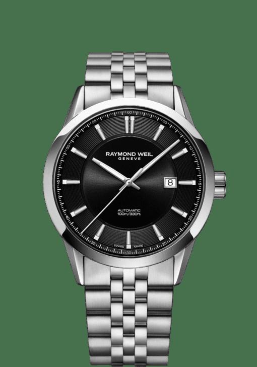 蕾蒙威自由骑士系列黑色表盘不锈钢表链腕表