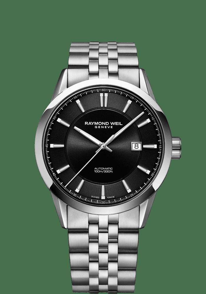 RAYMOND WEIL freelancer black dial stainless steel bracelet watch