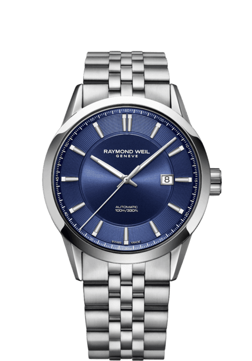 RAYMOND WEIL freelancer blue dial stainless steel watch