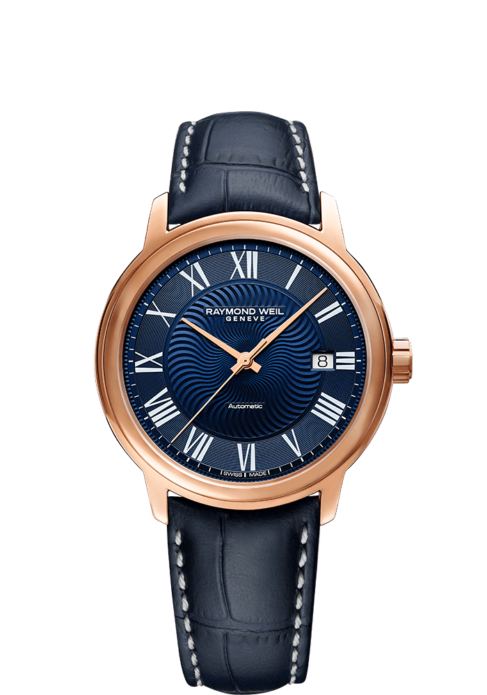 raymond weil maestro rose gold watch for men blue dial