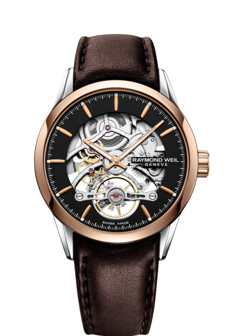 raymond weil 2785-sc5-20001 freelancer brown leather skeleton automatic watch for men
