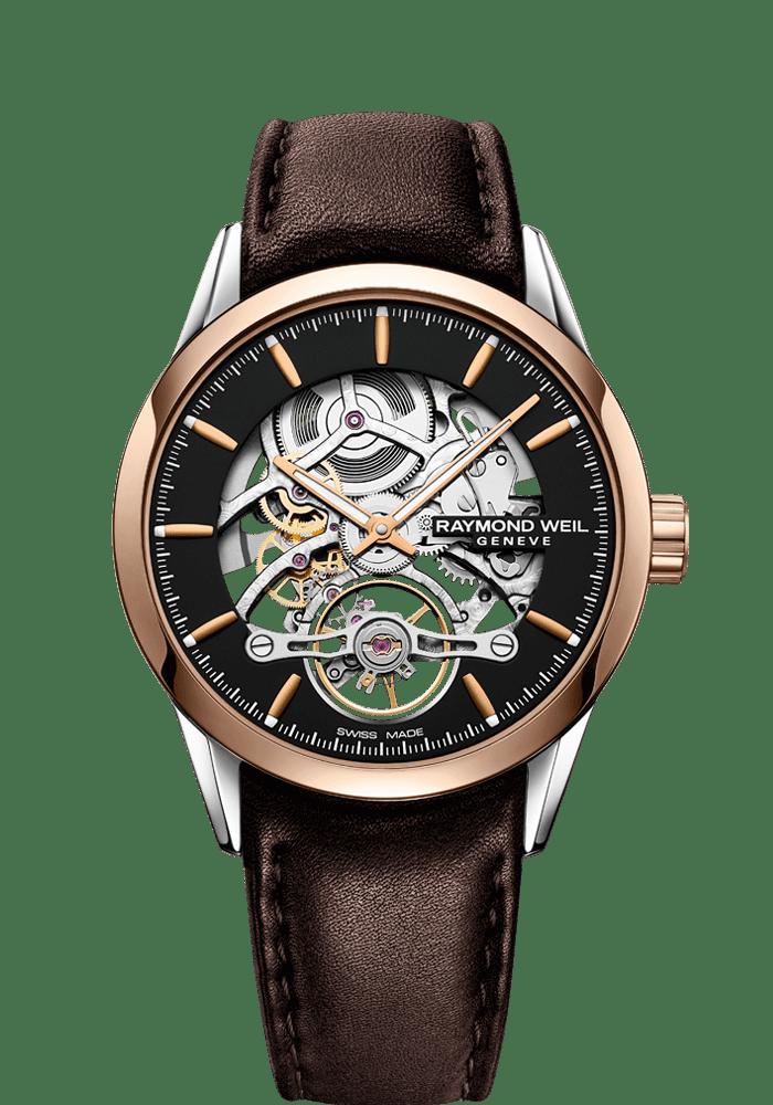 Raymond Weil 2785-sc5-20001 自由骑士系列男士棕色皮革镂空自动腕表