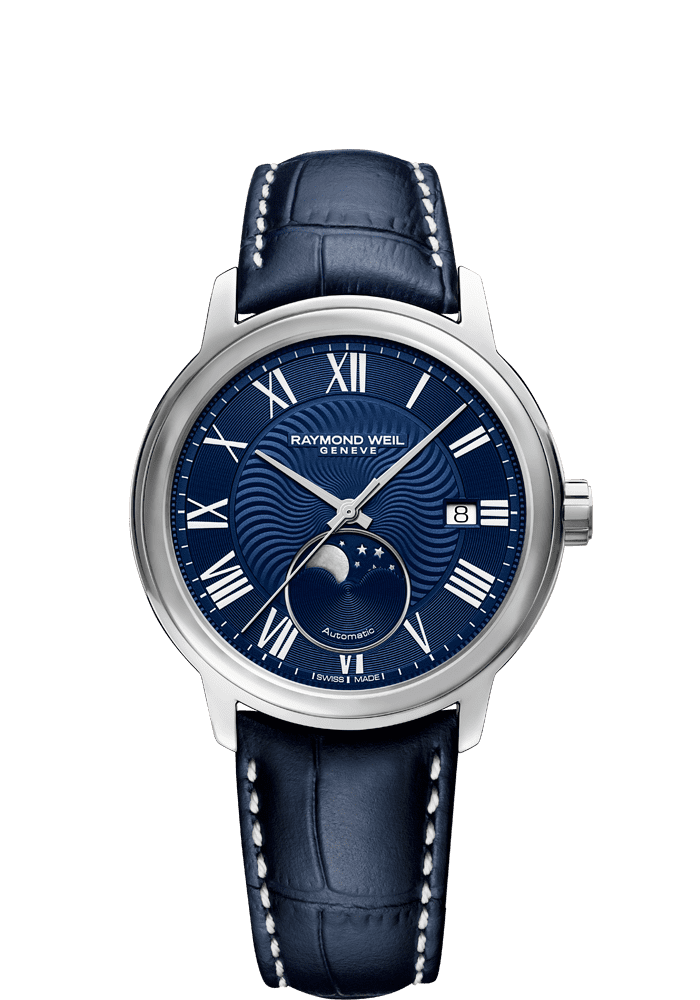 Maestro Moon Phase Blue Leather blue dial Watch RAYMOND WEIL