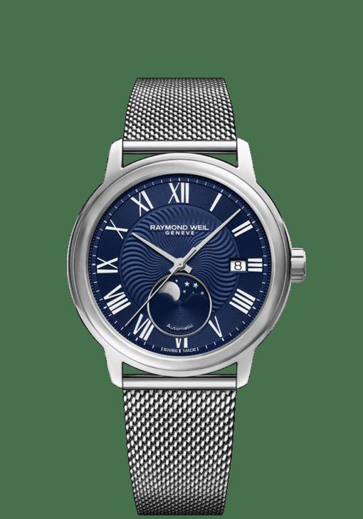 RAYMOND WEIL Maestro moon phase automatic wesh bracelet watch for men 2239-stc-00659