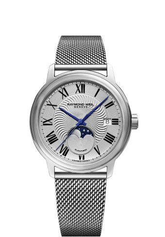2239M-ST-00659 mesh bracelet moon phase watch