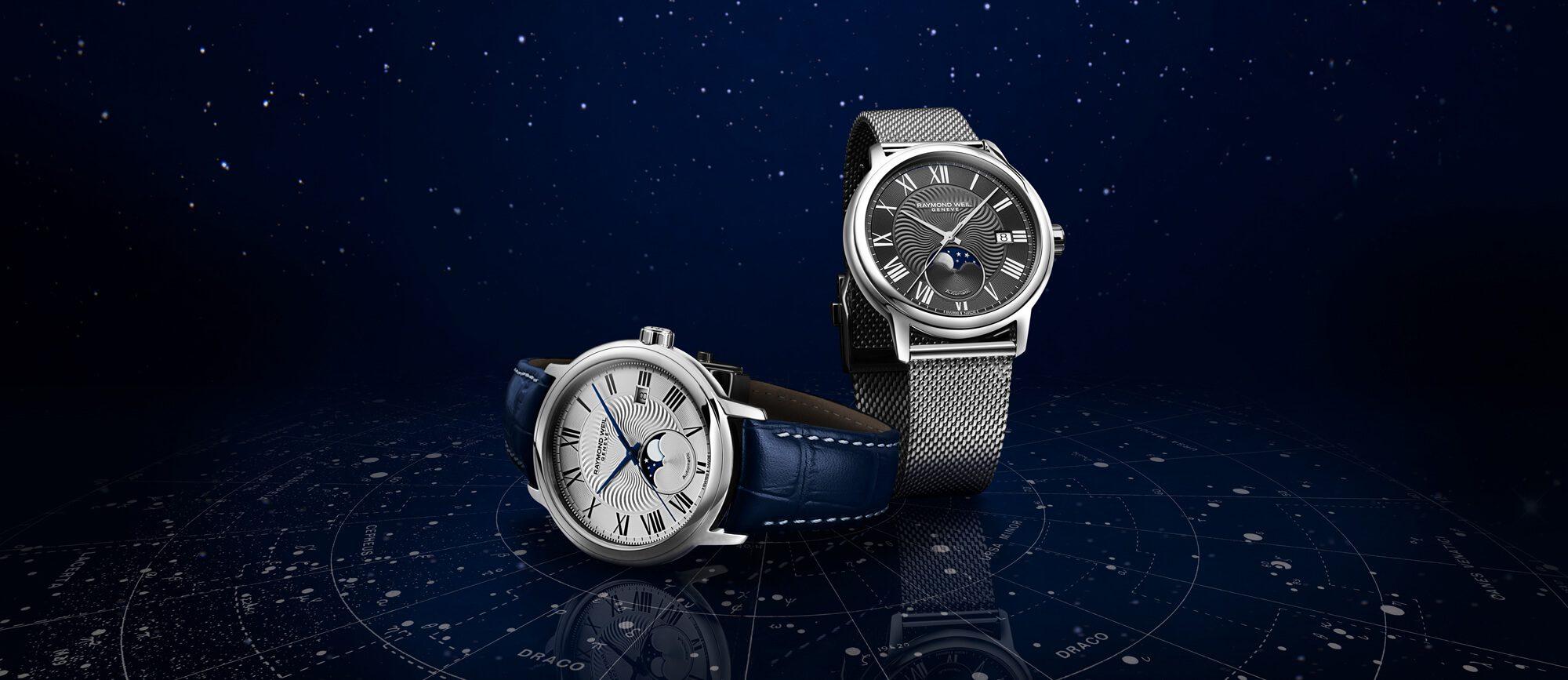 Maestro Moon Phase Grey Mesh Bracelet Watch RAYMOND WEIL