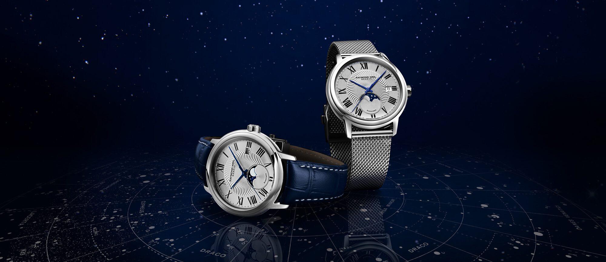 ساعة مايسترو بخاصية طور القمر، ولها سوار شبكي فضي من ريموند ويل